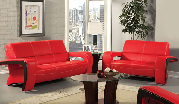 Sydney Modern Red Leather Sofa Set