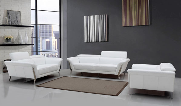 divani casa 1547 modern white leather sofa set blucci contemporary rh blucci com Small Leather Sofas and Loveseats Large Sectional Sofa Leather Comfy