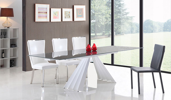 Modrest Milk Modern Extendable Smoked Glass Dining Table Blucci Contemporary Furniture